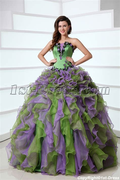 Puffy Ruffled Affordable Green and Purple Colorful Quinceanera Dress Organza Ball Gown:1st dress.com