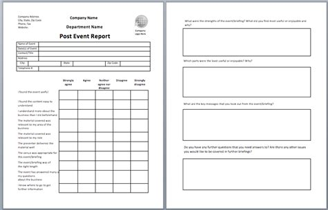 post event report template printable templates
