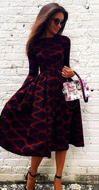 Patterned Sleeve Midi Dress dress flare patterned dress winter dress fall dress