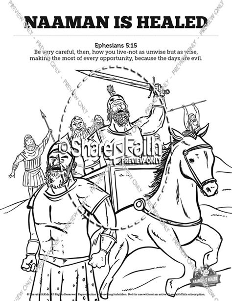 naaman coloring page printable naaman the leper 2 kings 5 sunday school coloring pages