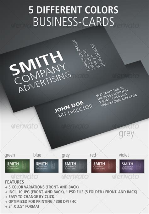 Card Templates Front And Back by Set Of 5 Plain Business Cards Front Back Graphicriver