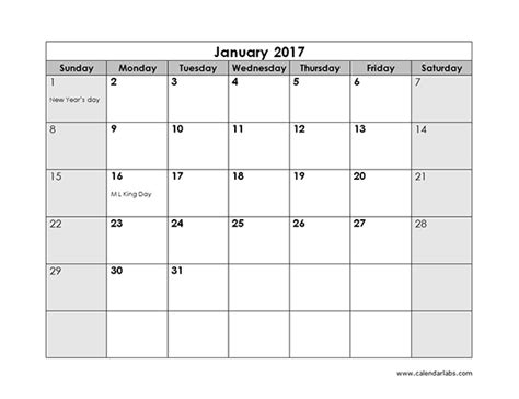 Calendar 2017 Monthly Uk Blank Monthly Calendar 2017 Weekly Calendar Template