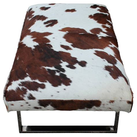 cowhide bench ottoman striking cowhide and chrome bench of ottoman at 1stdibs