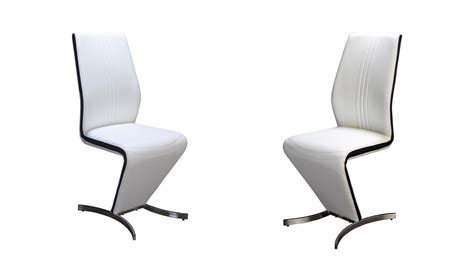Z Dining Chairs Z Dining Chairs In White Faux Leather Black Stripe Homegenies