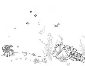 underwater scene with a treasure chest and sunken ship a