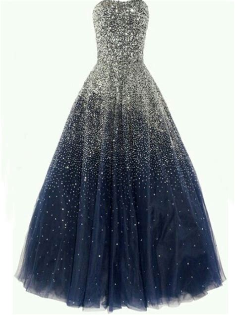 sparkly sequins strapless navy blue long quinceanera dress
