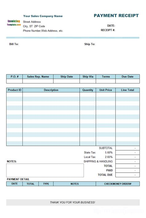 detailed receipt template payment receipt template