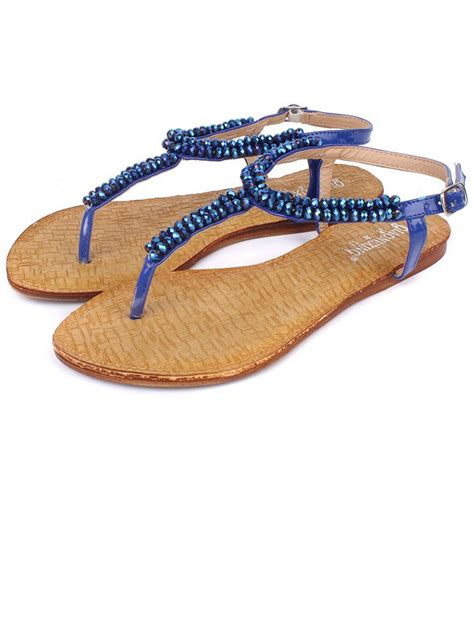 flat buckle sandals sale fashion open toe beading blue flat buckle sandals