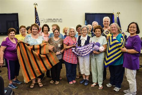 charity knitting groups humana charity crafters donate quilts afghans to veterans