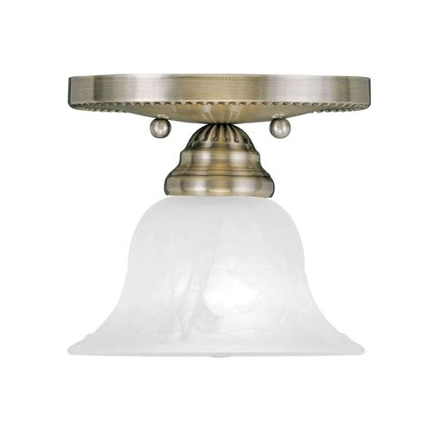 Livex Lighting Providence 1 Light Ceiling Antique Brass Antique Brass Flush Mount Ceiling Light