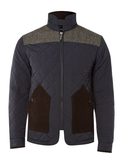 Fitted Quilted Jacket by Gant Slim Fitted Quilted Herringbone Jacket In Blue For