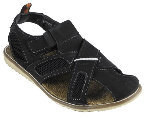 mens closed toe sandals mens nubuck leather closed toe velcro jesus sandals black