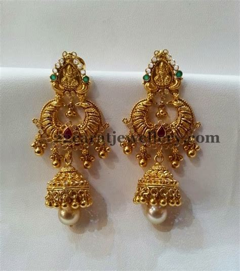 design earrings online gold lakshmi chandbali jhumka gold ear rings and indian