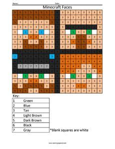 minecraft coloring pages with numbers minecraft color by number coloring squared pinterest