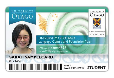 www id id card types of otago cards other services student