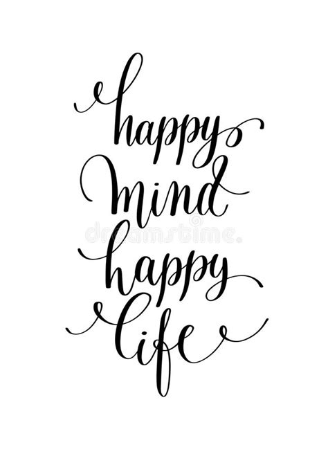happy mind happy life hand lettering positive quote