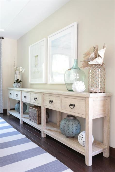transitional coastal buffet table  neutral dining room