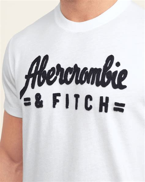 Abercrombie Fitch Mens Logo Graphic abercrombie fitch applique logo graphic in white for