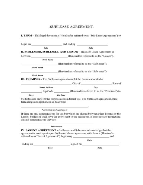 printable lease agreement mn minnesota sublease agreement form free download