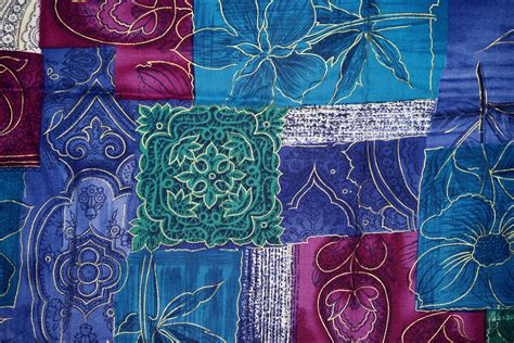 blue green and magenta patchwork fabric texture picture