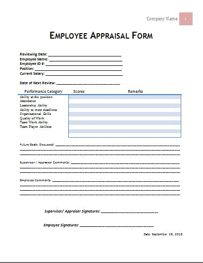 100 free employee performance evaluation form template work