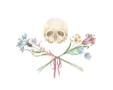 skull x flowers painting art anatomy skull floral