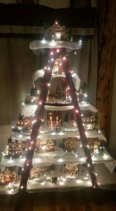 christmas village ladder display this idea with a ladder decor and winter decor this