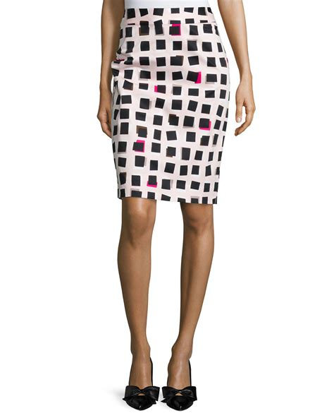 kate spade abstract checkered pencil skirt in beige