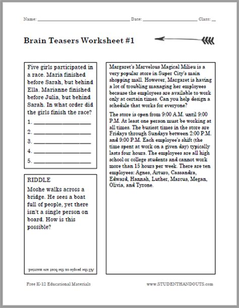 Brain Printable Worksheets For Adults