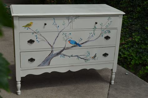 Antique White Changing Table Dresser Painted Songbird Dresser W Tree Bluebird Yellow