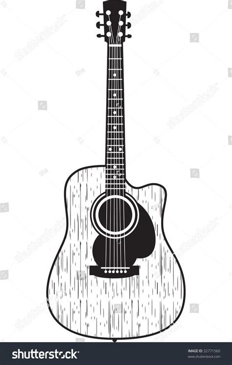 classic acoustic guitar cool for t shirt prints or tattoo