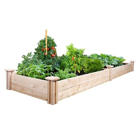 greenes raised beds greenes fence 2 ft x 8 ft x 7 in cedar raised garden bed rc24967 the home depot