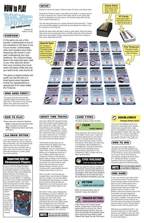 printable board game instructions bttf the card game rules looney labs