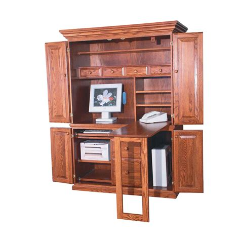 Furniture Stunning Display Of Wood Grain In A Corner Computer Armoire Desk