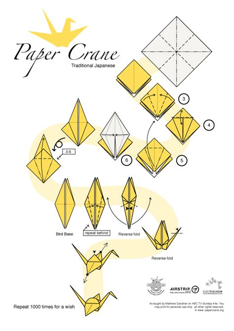 Printable Origami Crane - how to make origami paper cranes
