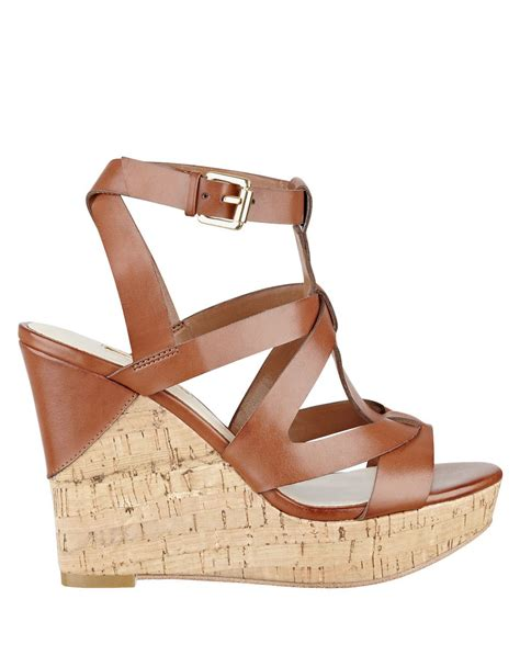 guess wedge shoes guess harlea platform wedge sandals in metallic lyst