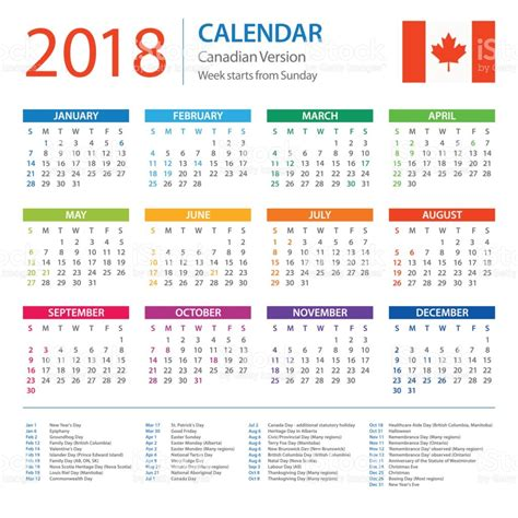 Printable Calendar Canada 2018 | august 2018 calendar canada 2018 yearly calendar