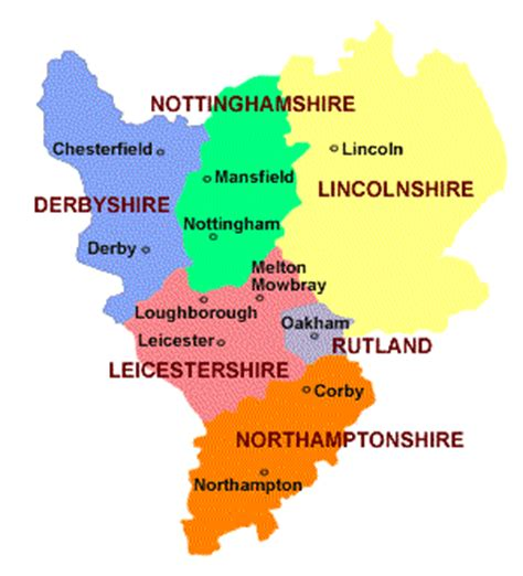 map uk midlands map of east midlands of leicester