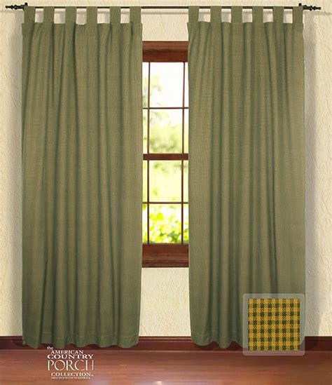 cottage green minicheck tab top window curtain panels
