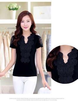 Blouse Wanita Kerah baju atasan kerah v hitam terbaru jual model terbaru