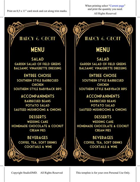 printable menu card template great gatsby style art by