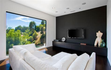 bedroom media console floating media console family room contemporary with black wall black accent wall