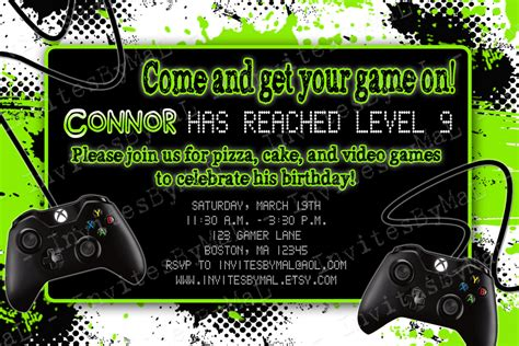 Video Game Party Birthday Party Invitation With Or By Invitesbymal Gaming Invitation Template