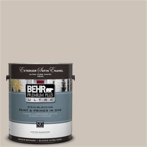 behr premium plus ultra 1 gal icc 89 gallery taupe satin enamel exterior paint 985001 the