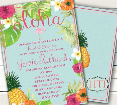 luau wedding invitations luau invitation aloha luau bridal shower hawaii invitation