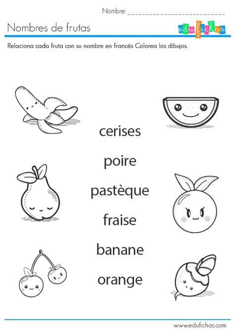 aprender nombres de frutas en franc 233 s edufichas com