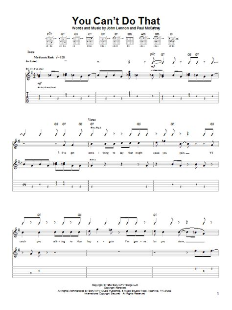 we can t be beaten guitar tab by rose tattoo guitar tab you can t do that by the beatles guitar tab guitar
