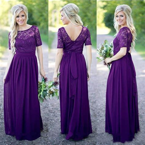 Longdress Softflow 2017 purple bridesmaid dress with half sleeves country style of honor prom gowns