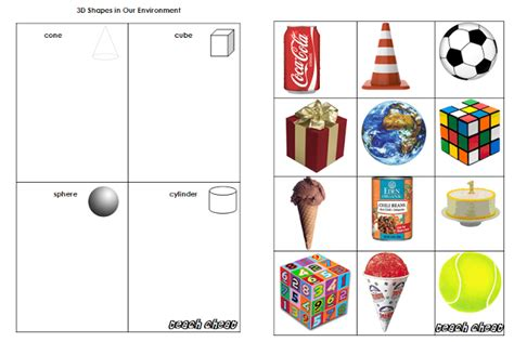 3d shape sorting worksheet teach maths 3d shapes in our environment