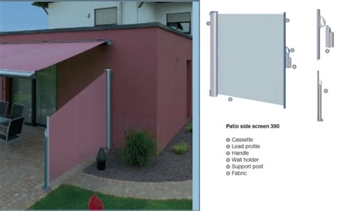 Retractable Awning Side Shade by Warema Retractable Patio Side Screen